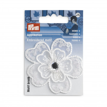 Prym Applikation Blume festlich weiß mit Perlen