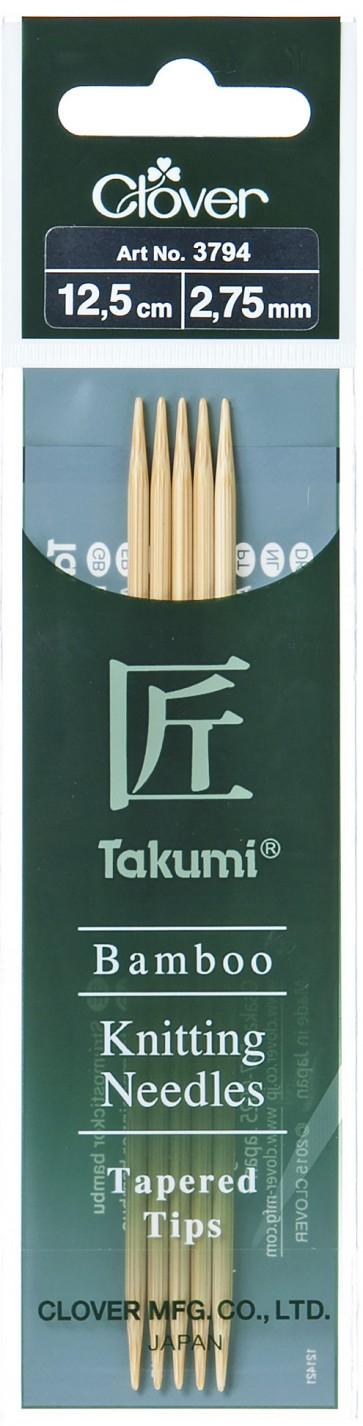 CLOVER Strumpfstrickndl Bambus Takumi 12.5cm/2.75mm