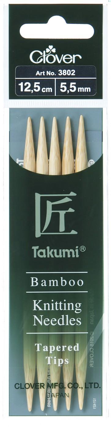 CLOVER Strumpfstrickndl Bambus Takumi 12.5cm/5.50mm