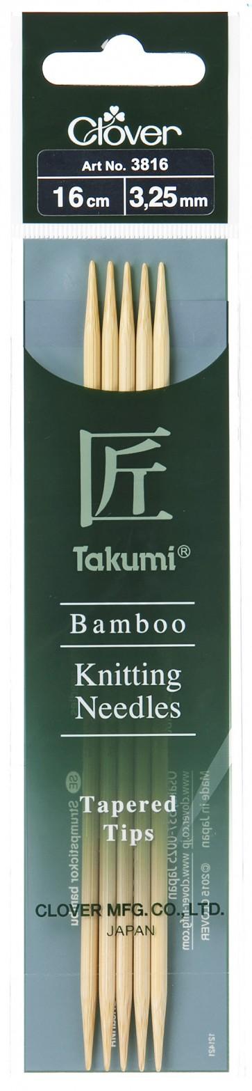 CLOVER Strumpfstrickndl Bambus Takumi 16cm/3.25mm