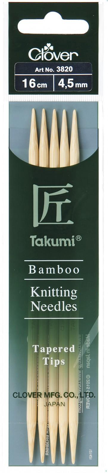 CLOVER Strumpfstrickndl Bambus Takumi 16cm/4.50mm
