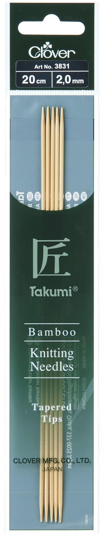 CLOVER Strumpfstrickndl Bambus Takumi 20cm/2.00mm