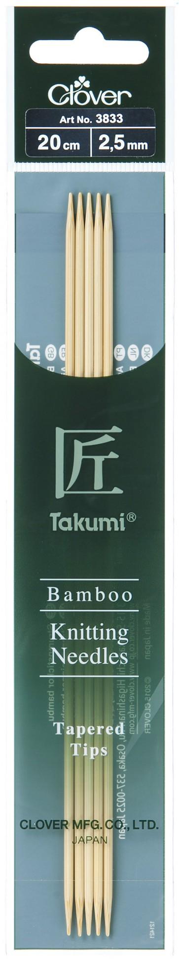 CLOVER Strumpfstrickndl Bambus Takumi 20cm/2.50mm