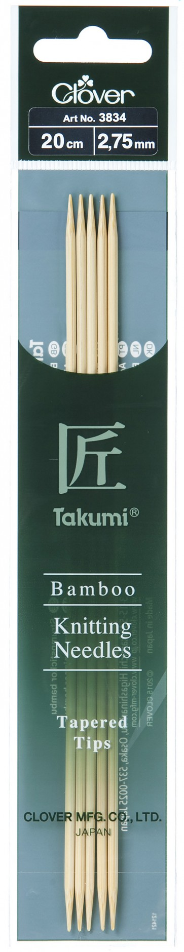 CLOVER Strumpfstrickndl Bambus Takumi 20cm/2.75mm