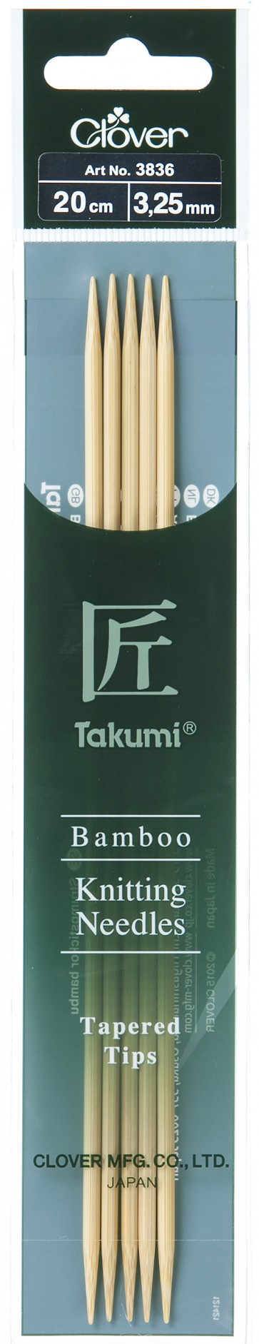 CLOVER Strumpfstrickndl Bambus Takumi 20cm/3.25mm