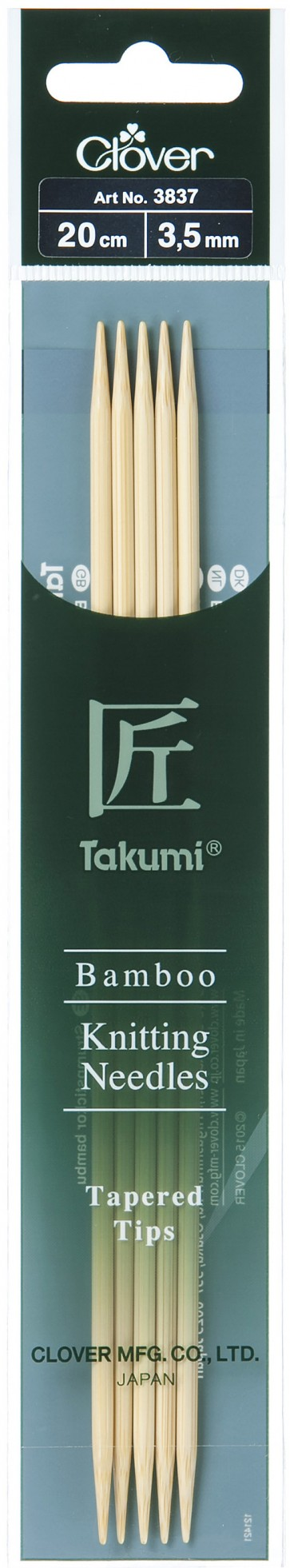CLOVER Strumpfstrickndl Bambus Takumi 20cm/3.50mm