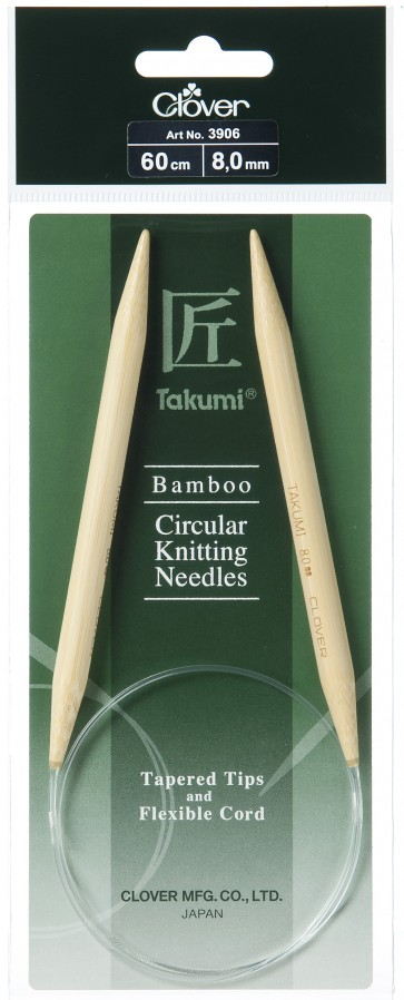 CLOVER Rundstrickndl. Bambus Takumi 60cm/8.00mm