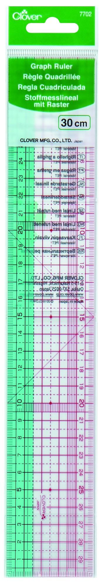 CLOVER Stoffmesslineal m. Raster 30cm