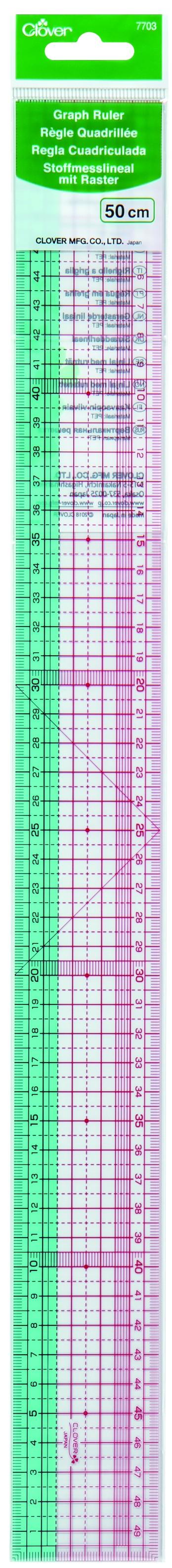 CLOVER Stoffmesslineal m. Raster 50cm