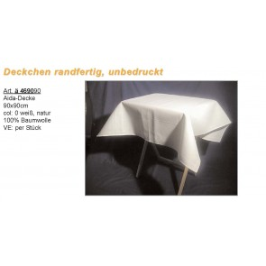 Aidadecke 100%Bw. weiß,natur 90x90
