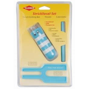 Strickliesl/Pompom-Set  blau
