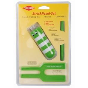 Strickliesl/Pompom-Set  grün
