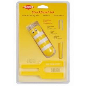 Strickliesl/Pompom-Set  gelb