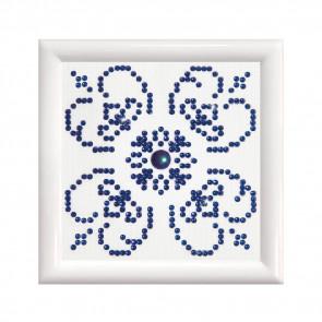 DIAMOND DOTZ m. Rahm weiß, blau auf weiß 9,5x9,5cm  (3 St)