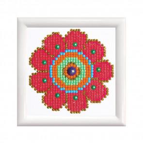 DIAMOND DOTZ m. Rahm weiß, Flower Power 9,5x9,5 cm  (3 St)