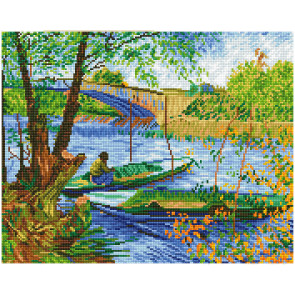 DIAMOND DOTZ Fishing in Spring (Van Gogh) 50x40 cm
