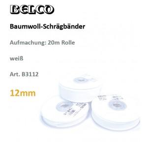 Schrägband Baumw. weiß   12gg