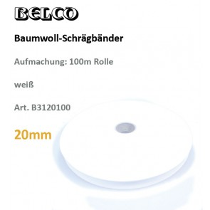 Schrägband Baumw. weiß   20gg