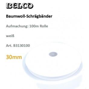 Schrägband Baumw. weiß   30gg