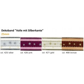 """Dekoband """"Voile mit Silberkante"""""""