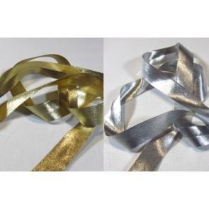 Schrägbd. Lurex  silber, gold, 20mm