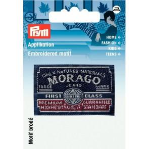 Prym Appl. Label MORAGO blau/grau #