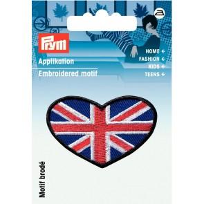 Prym Appl. Herz Brit. Fahne blau/rot/weiss #