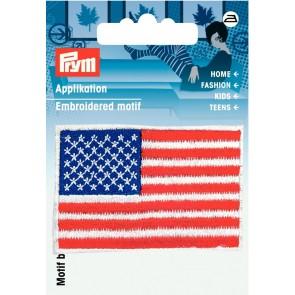 Prym Appl. Amerika Fahne blau/rot/weiß #
