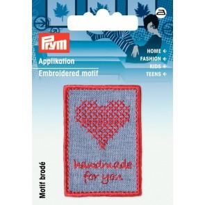 Prym Appl. Exklusiv Handmade Label Sticken blau/rot #