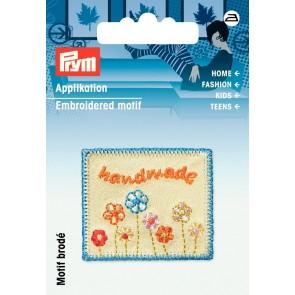 Prym Appl. Exklusiv Handmade Label Blumen bunt #