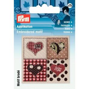 Prym Appl. Exklusiv Handmade Label Herzen braun/beige #