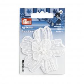 Prym Applikation Blume festlich weiß glänzend