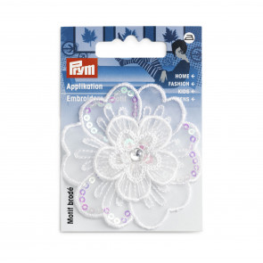 Prym Applikation Blume festlich weiß Pailletten