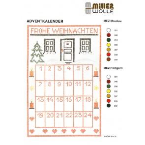 Adventkalender hoch -  Stoff 019 -  geend., Vordr.