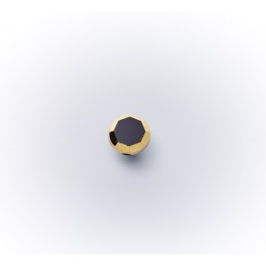 11mm Glasknopf schwarz m.Goldrand *