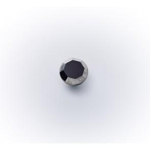 10mm Glasknopf schwz m.Silberrand *