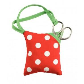Nadelkissen und Schere Polka Dot rot/weiß #