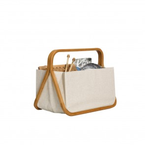 Fold & Store Basket canvas & bamboo natur #