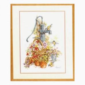 LAN Blumen/Wasserpumpe Zählstoff 10,5 Fd/1 cm Elfenbein