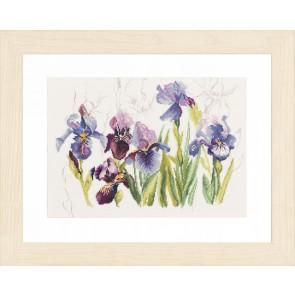 LAN. Zählmusterpackung 3 blaue Iris 40x28cm