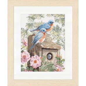 LAN. Zählmusterpackung blaue Vögel 29x39cm