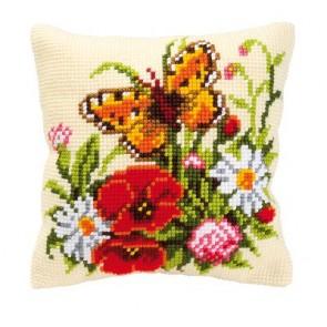 VER Kreuzstichkissenpackung Blumen mit Schmetterling
