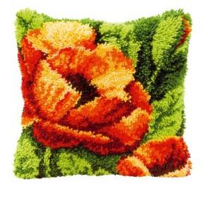 VER Knüpfkissenpackung Orange Blume