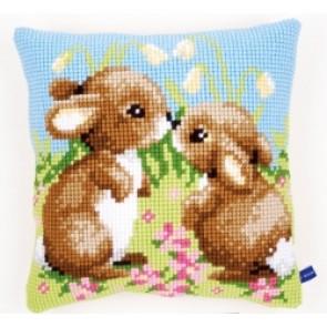 VER Kreuzstichkissen 2 Kaninchen