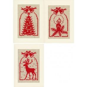 VER Grußkartenpackung Reh, Kerz & Christbaum 3er Set