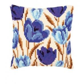 VER Kreuzstichkissenpackung blaue Tulpen