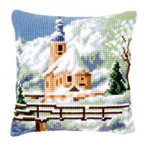 VER Kreuzstichkissenpackung Kirche im Schnee