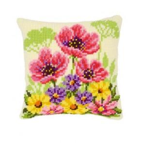 VER Kreuzstichkissenpackung Blumenbeet m. Mohnblumen