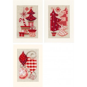 VER Grußkartenpackung Weihnachtlich in Rot 3er Set