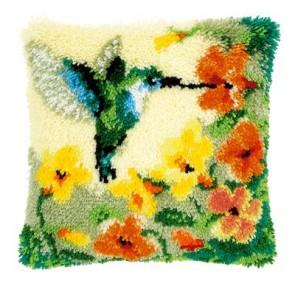 VER Knüpfkissen Kolibri mit Blumen